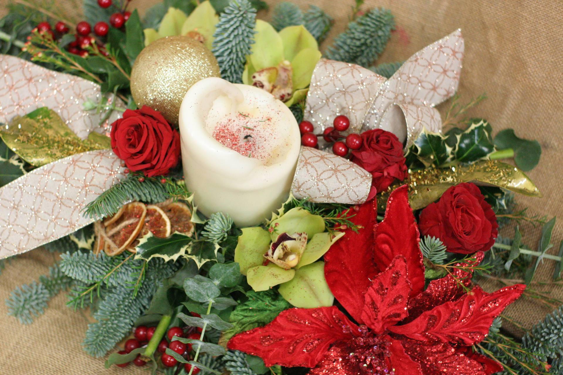 adorno flores navidad
